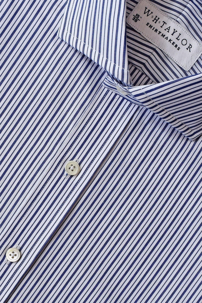 Navy & Black Stripe Poplin Bespoke Shirt-whtshirtmakers.com