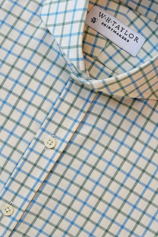 Blue and Olive Twill Check Bespoke Shirt