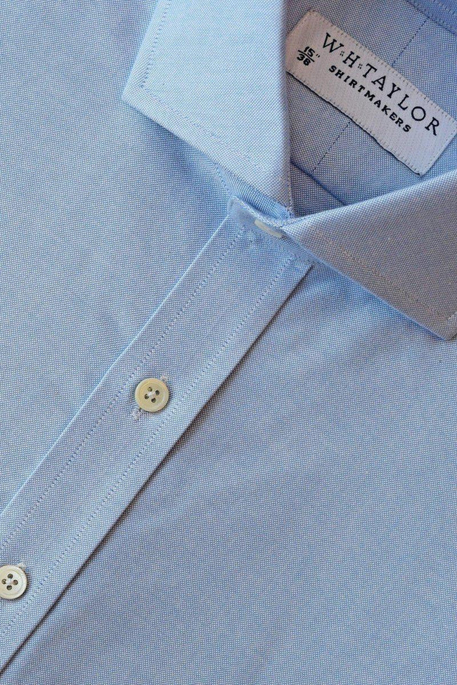 Plain Blue Oxford Weave Bespoke Shirt-whtshirtmakers.com