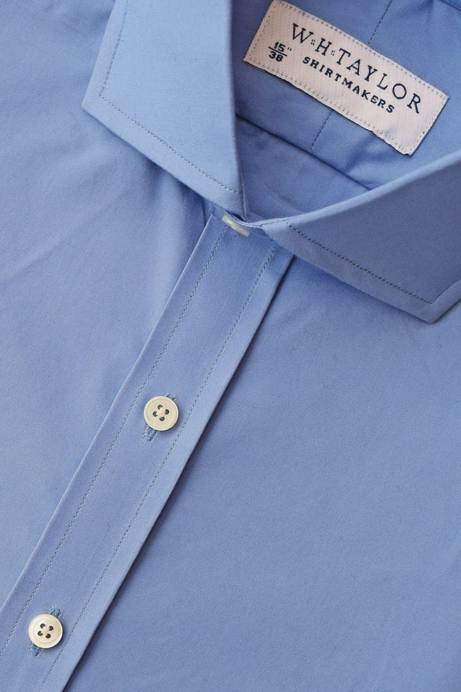 Plain Pacific Blue Poplin Bespoke Shirt-whtshirtmakers.com