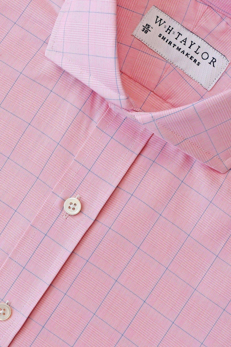 Pink Prince of Wales & Blue Plaid Check Poplin Bespoke Shirt-whtshirtmakers.com