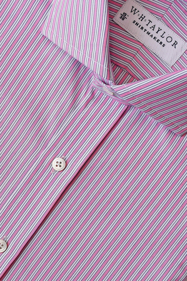 Pink Shadow Hairline Stripe Poplin Bespoke Shirt-whtshirtmakers.com