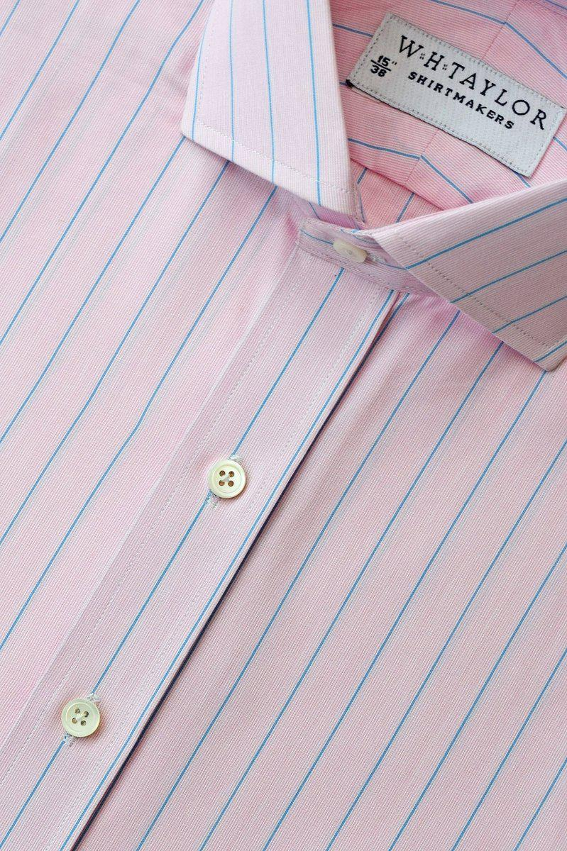 Pink Blue Pencil Striped Poplin Bespoke Shirt-whtshirtmakers.com