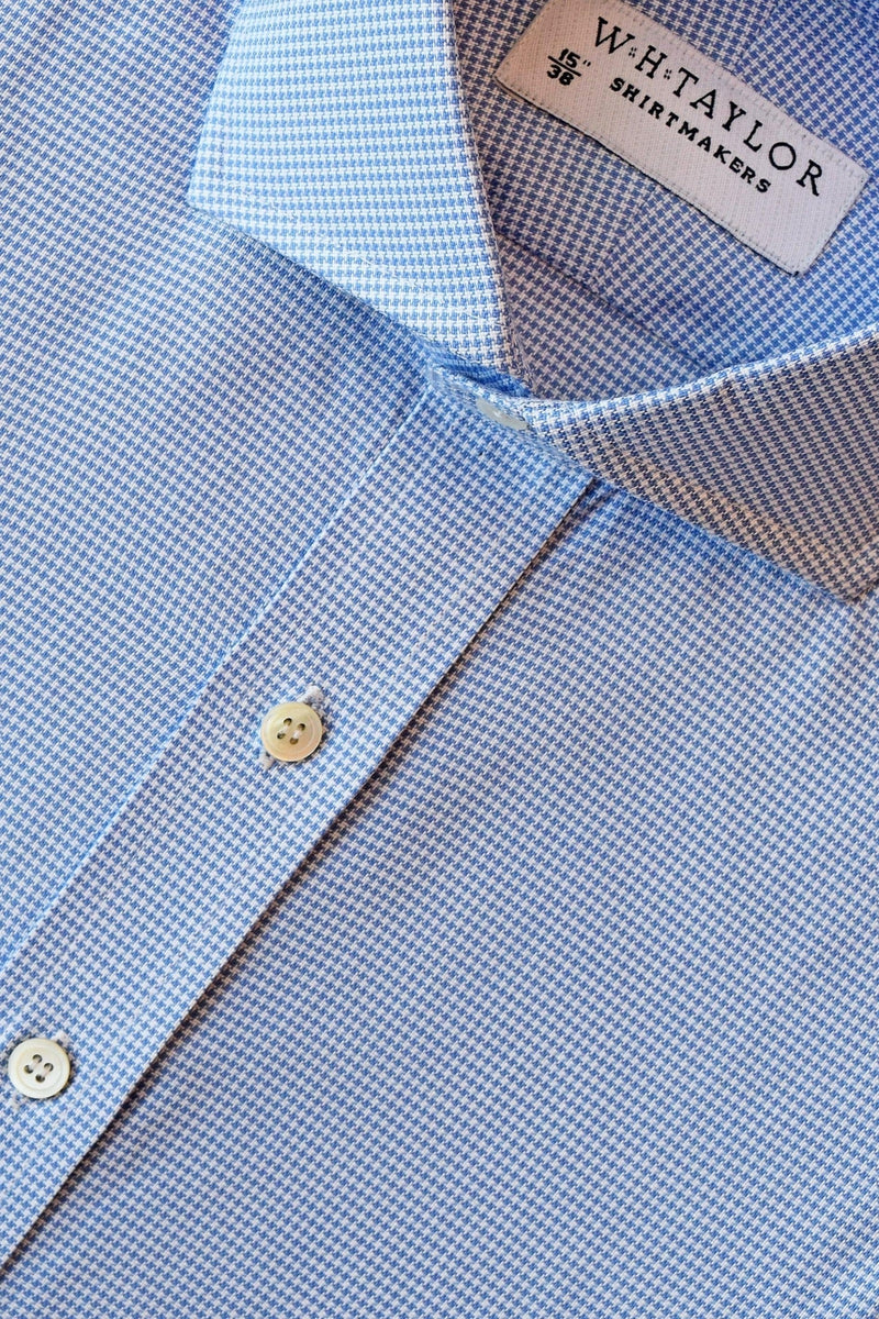 Blue Puppy Houndstooth Check Bespoke Shirt-whtshirtmakers.com