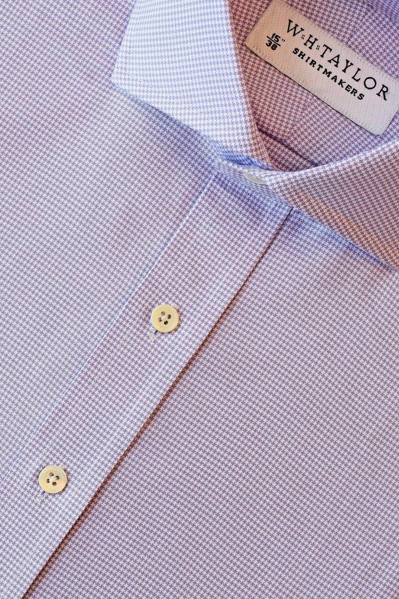 Lilac Puppy Houndstooth Check Bespoke Shirt-whtshirtmakers.com
