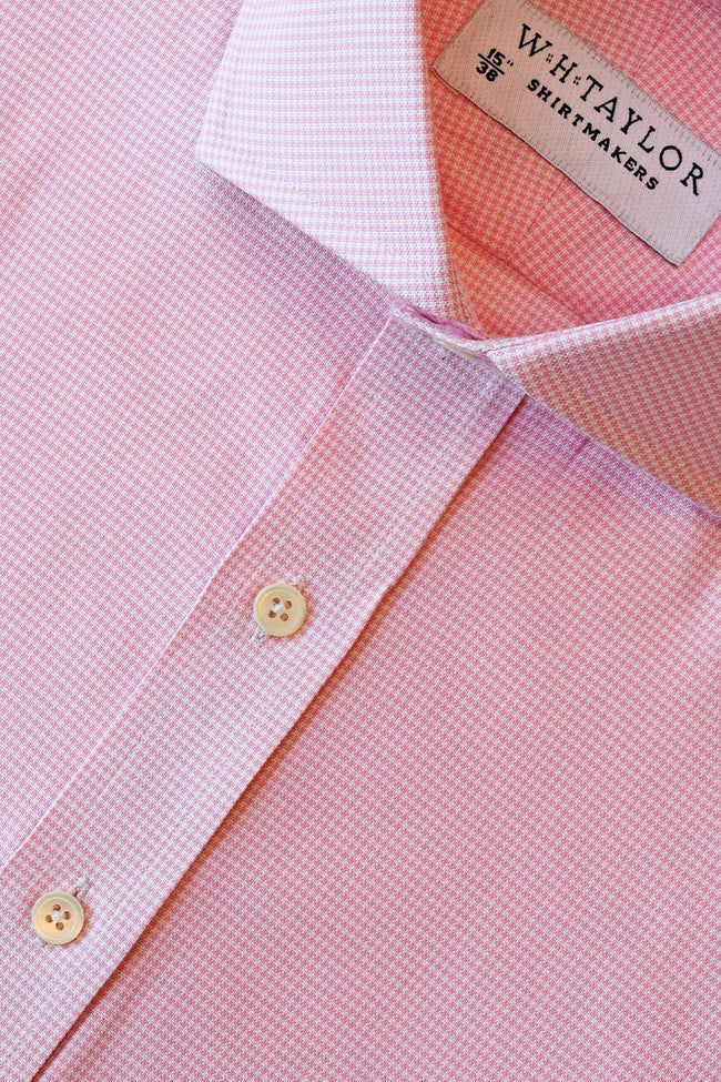 Pink Puppy Houndstooth Check Bespoke Shirt-whtshirtmakers.com