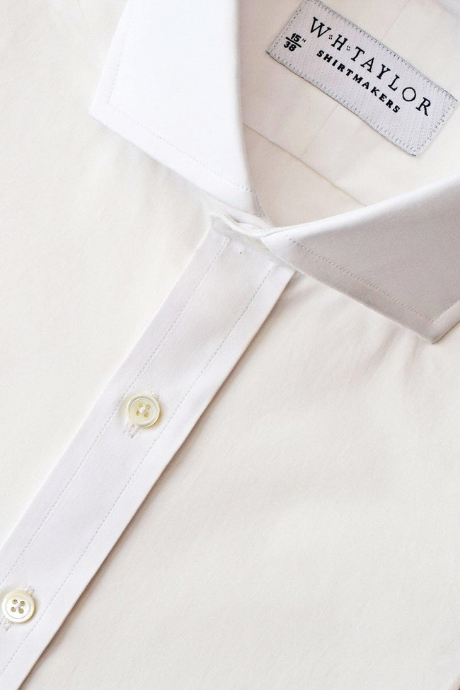 Plain White Cotton Poplin Bespoke Shirt-whtshirtmakers.com