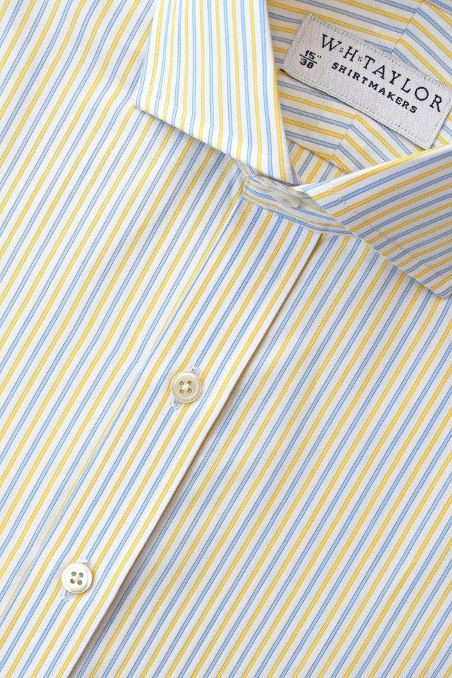 Blue Yellow Alternative Striped Poplin Bespoke Shirt-whtshirtmakers.com