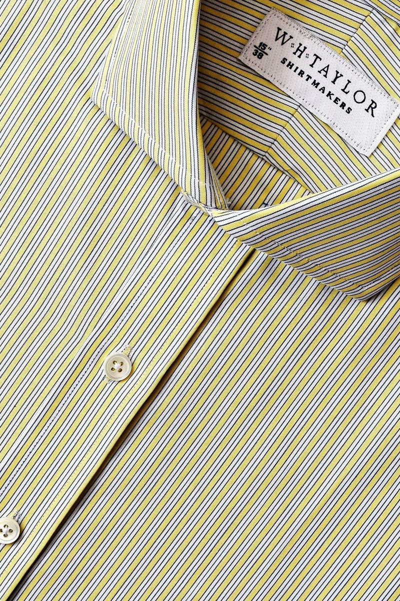Yellow Shadow Hairline Stripe Poplin Bespoke Shirt-whtshirtmakers.com