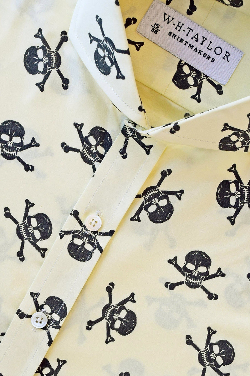 Skull and Crossbone Yellow Poplin Bespoke Shirt-whtshirtmakers.com