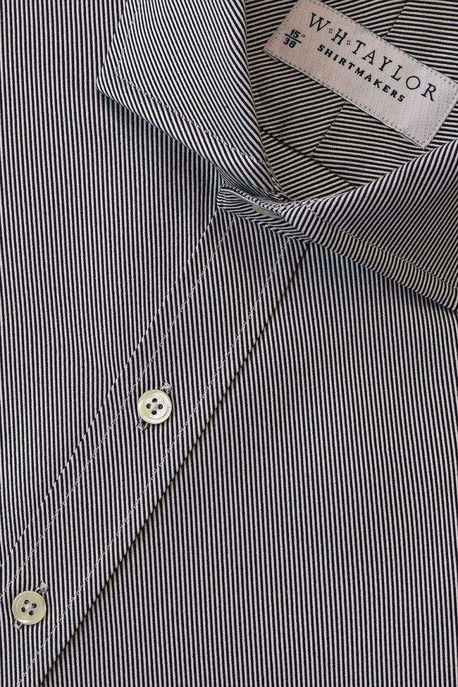 Black Lined Twill Cotton Shirt-whtshirtmakers.com
