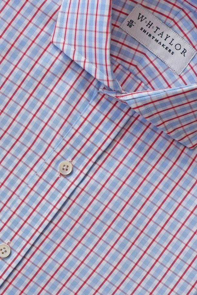 Sky & Red Over Check Poplin Bespoke Shirt-whtshirtmakers.com