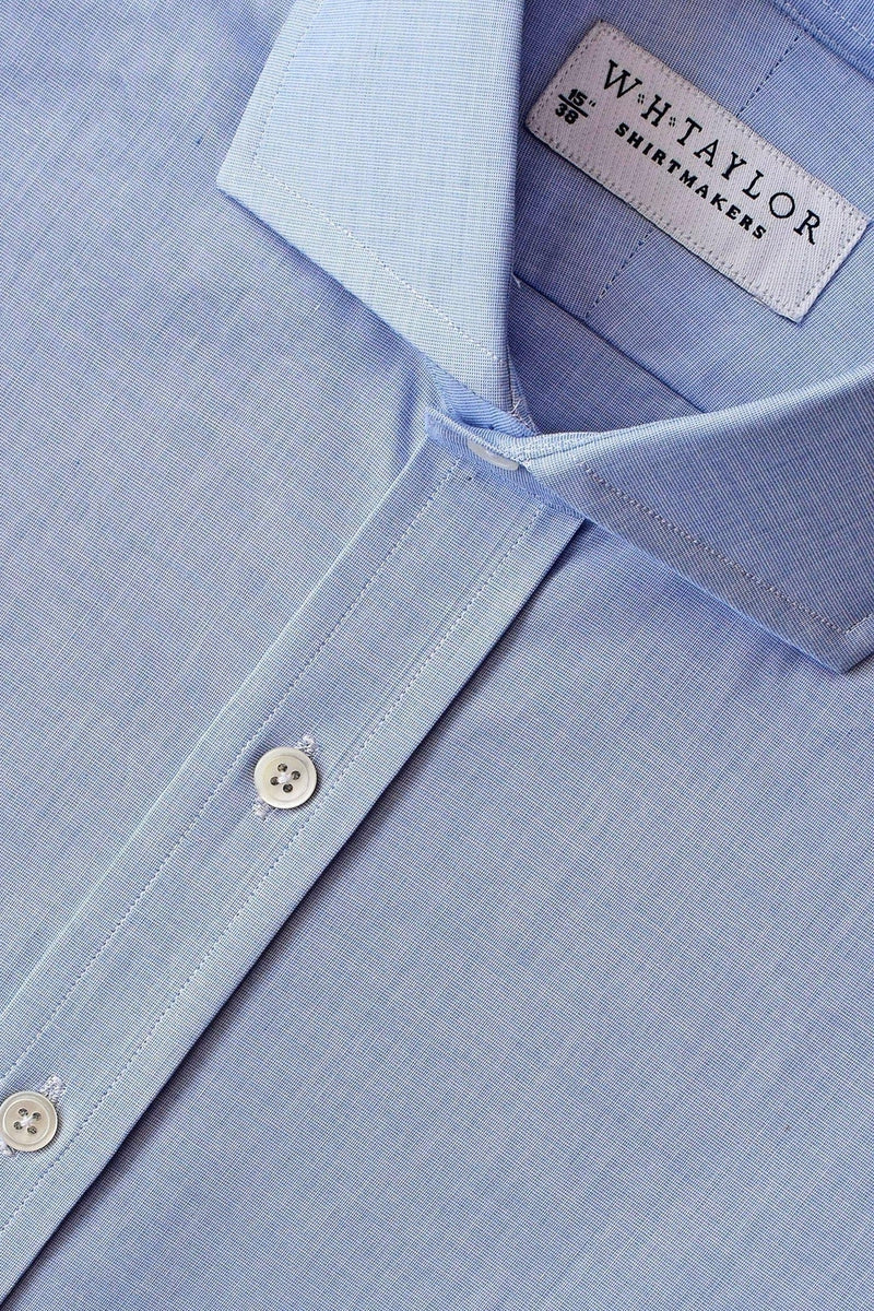 200's Ultimate Superfine Plain Blue End On End Bespoke Shirt-whtshirtmakers.com