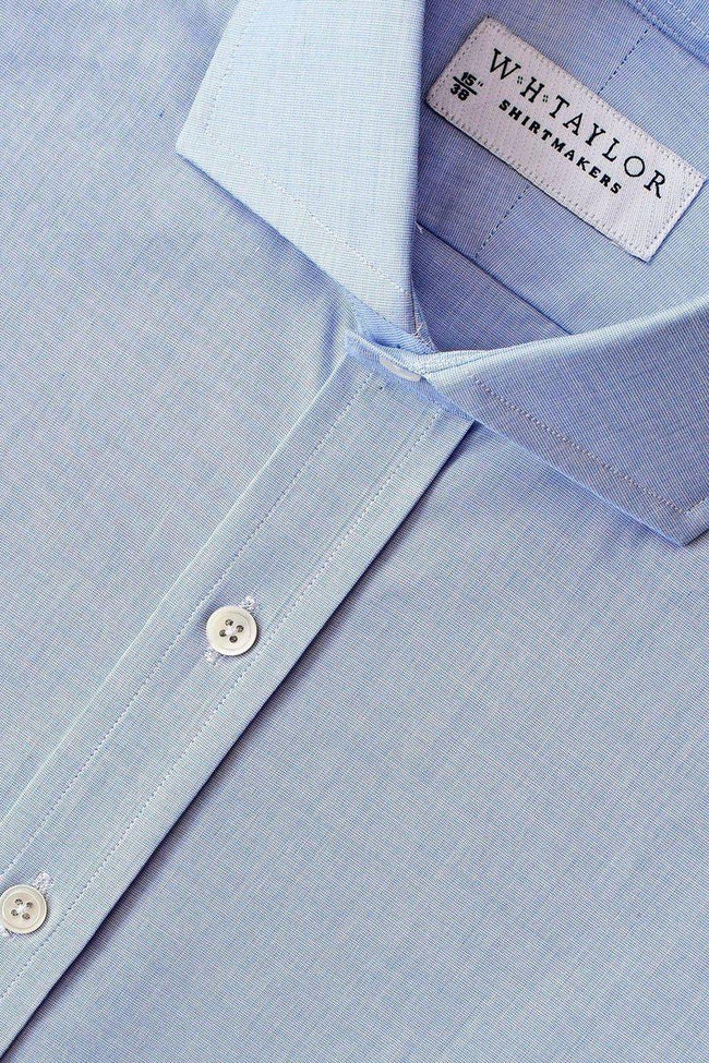 Plain Blue End On End Bespoke Shirt-whtshirtmakers.com