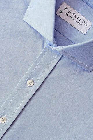 Plain 140's Superfine Blue End On End Poplin Bespoke Shirt
