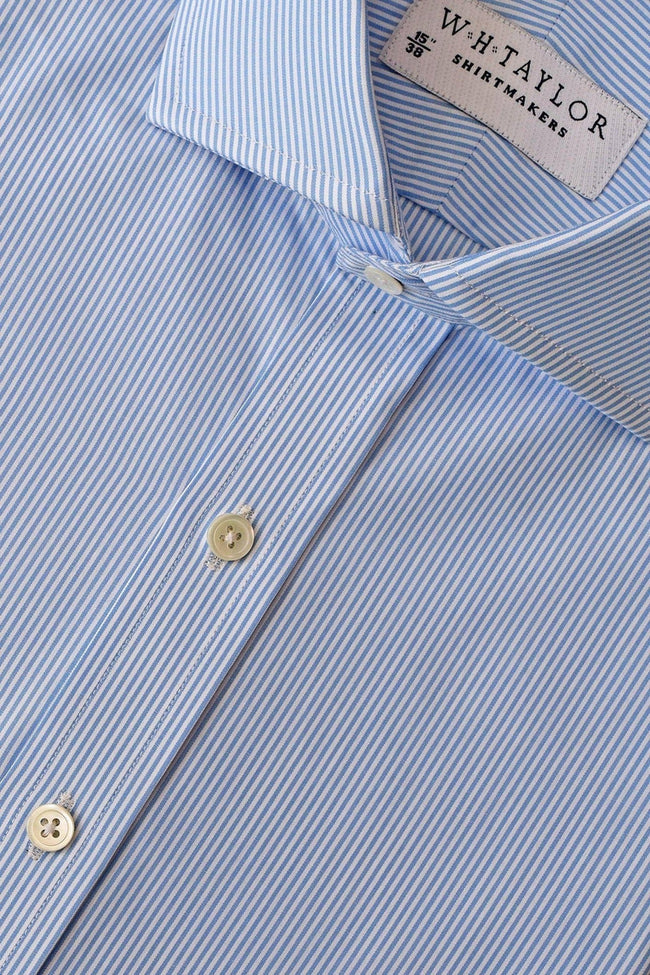 140's Superfine Blue Narrow Stripe Poplin Bespoke Shirt-whtshirtmakers.com