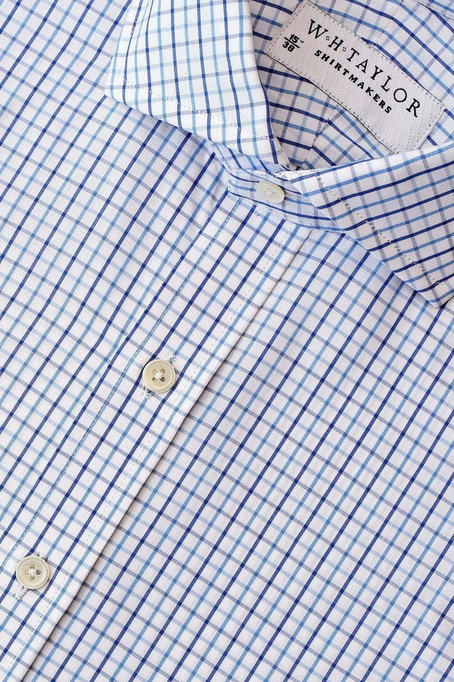 Blue Navy Check Poplin Bespoke Shirt-whtshirtmakers.com