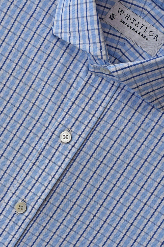 Sky & Navy Over Check Poplin Bespoke Shirt-whtshirtmakers.com