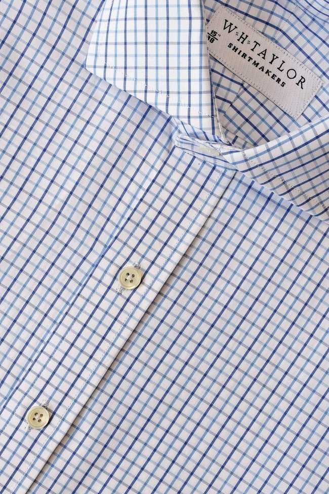Navy and Blue Tattersall Check Poplin Bespoke Shirt-whtshirtmakers.com