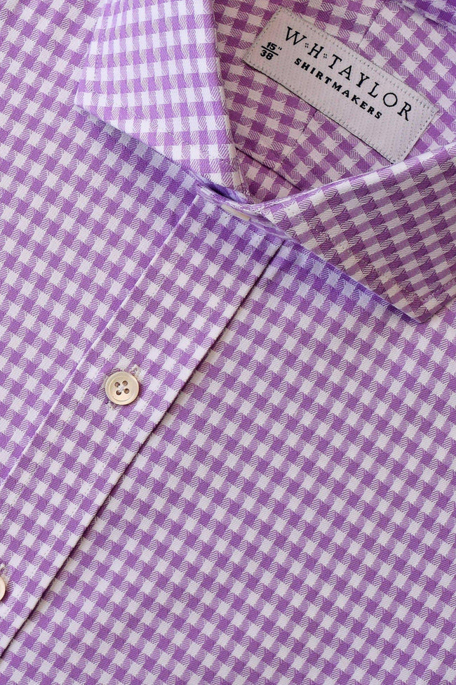 Lilac Houndstooth Check Bespoke Shirt-whtshirtmakers.com