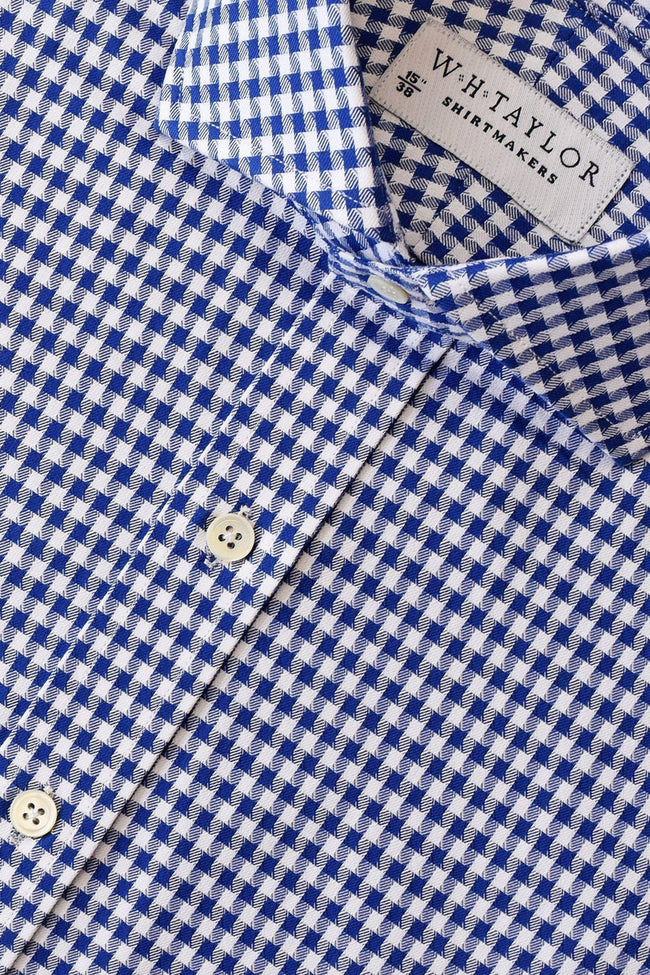Navy Houndstooth Check Bespoke Shirt-whtshirtmakers.com