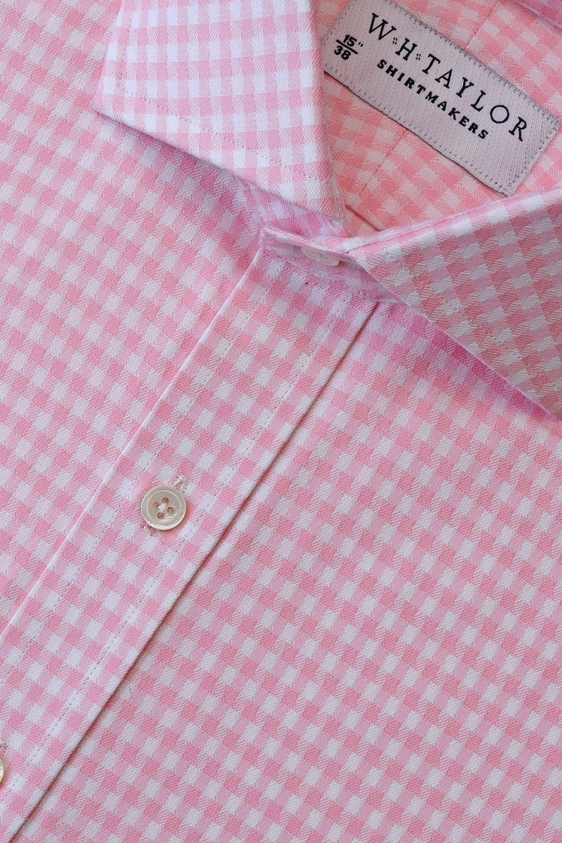 Pink Houndstooth Check Bespoke Shirt-whtshirtmakers.com