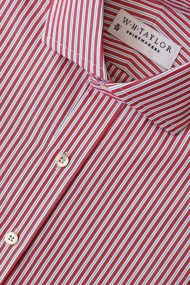 Red Shadow Hairline Stripe Poplin Bespoke Shirt-whtshirtmakers.com
