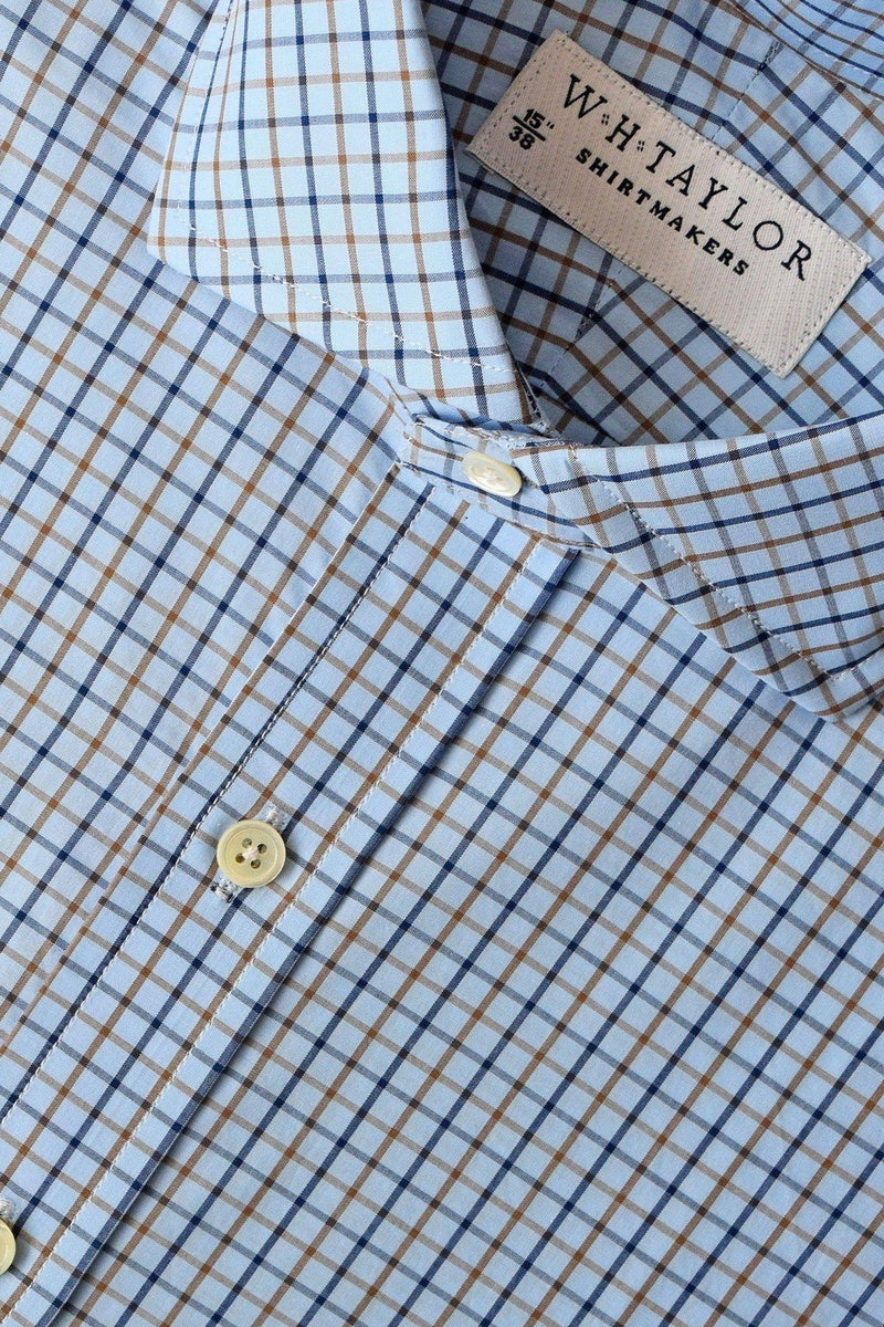 Sky Tan and Blue Check Poplin Bespoke Shirt-whtshirtmakers.com