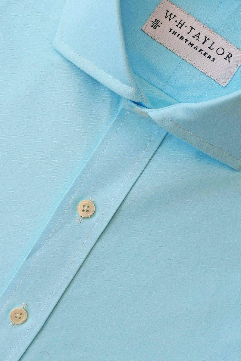 Bespoke Plain Sea Foam Poplin Shirt-whtshirtmakers.com