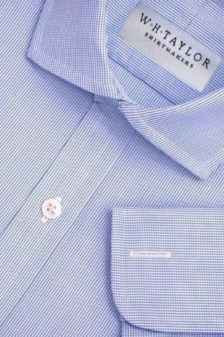 140's Superfine Blue Shepherd Check Poplin Bespoke Shirt-whtshirtmakers.com