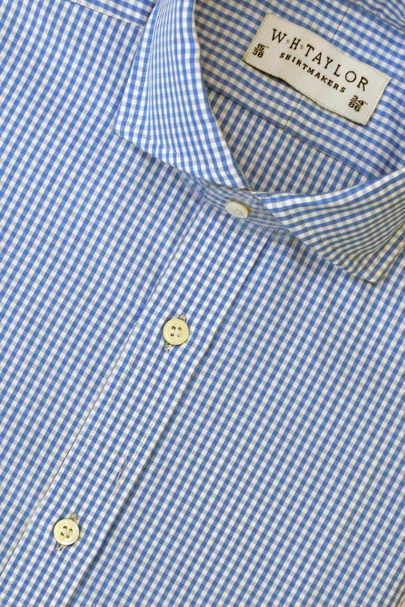 140's Superfine Blue Small Gingham Check Poplin Bespoke Shirt-whtshirtmakers.com