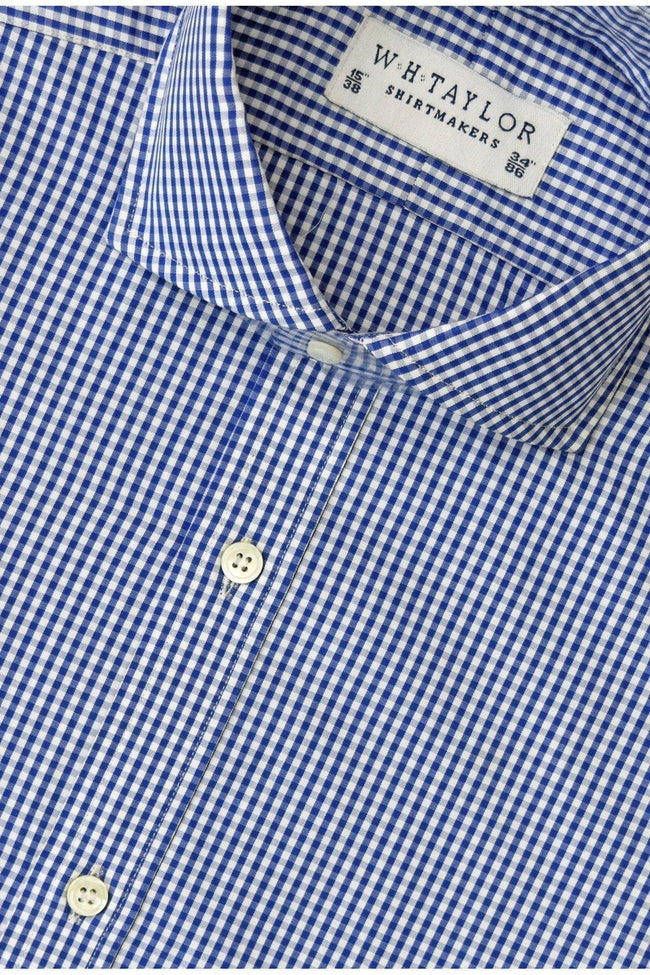 140's Superfine Navy Small Gingham Check Poplin Bespoke Shirt-whtshirtmakers.com