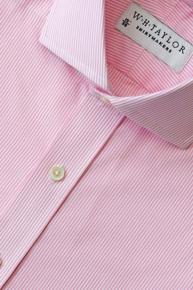 140's Superfine Pink Narrow Stripe Poplin Bespoke Shirt-whtshirtmakers.com