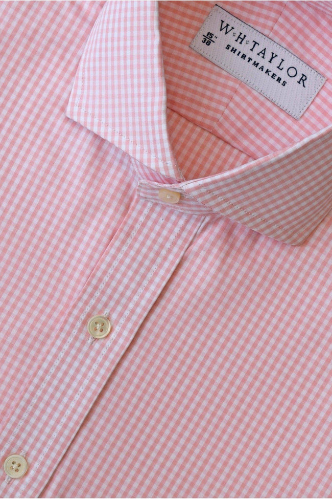 whtshirtmakers.com Bespoke 140'S Superfine Pink Small Gingham Check Poplin Shirt
