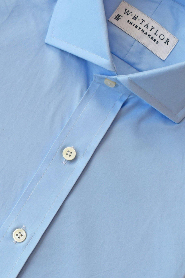 140's Superfine Plain Azure Blue Poplin Bespoke Shirt-whtshirtmakers.com