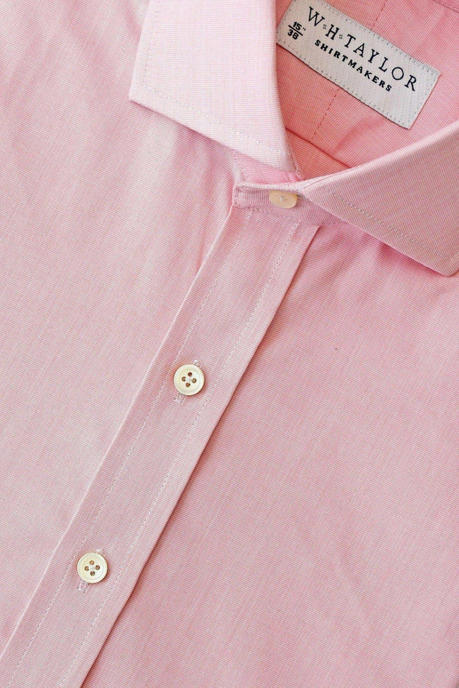 whtshirtmakers.com Bespoke 140's Superfine Plain Pink End On End Shirt
