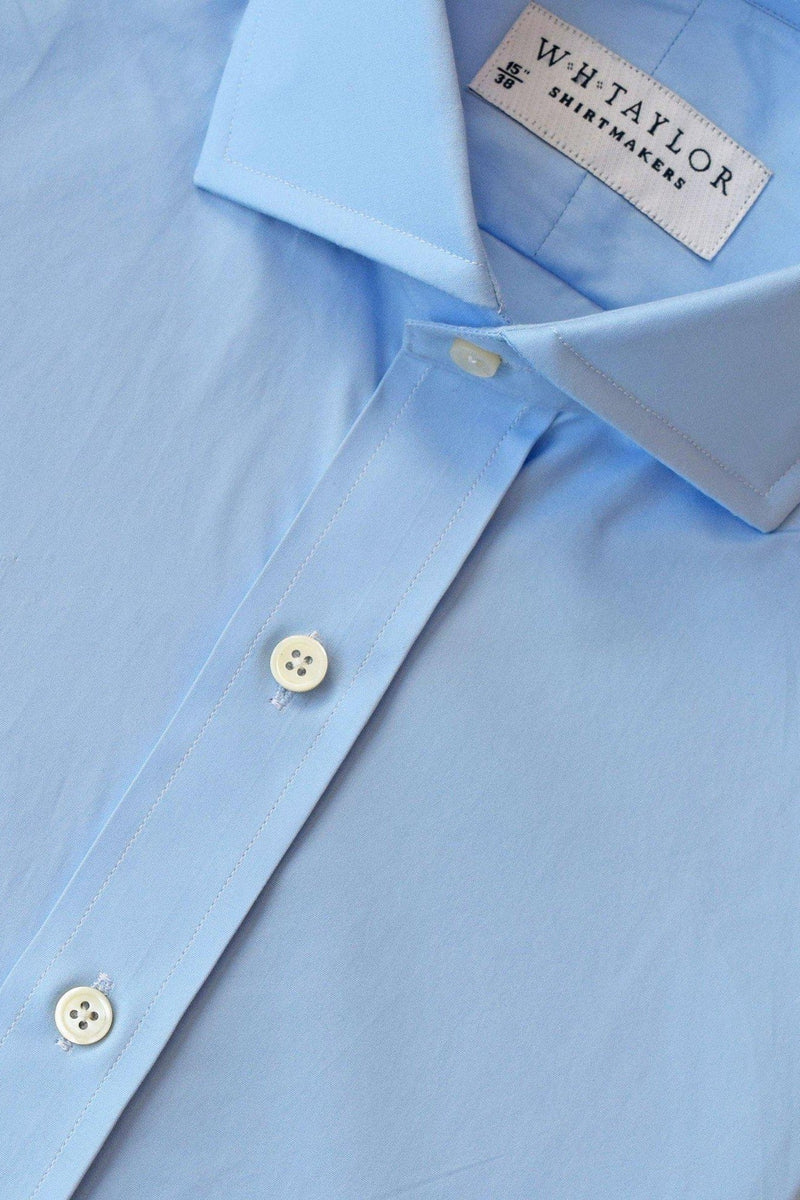 160's Ultimate Superfine Plain Sky Blue Poplin Bespoke Shirt-whtshirtmakers.com