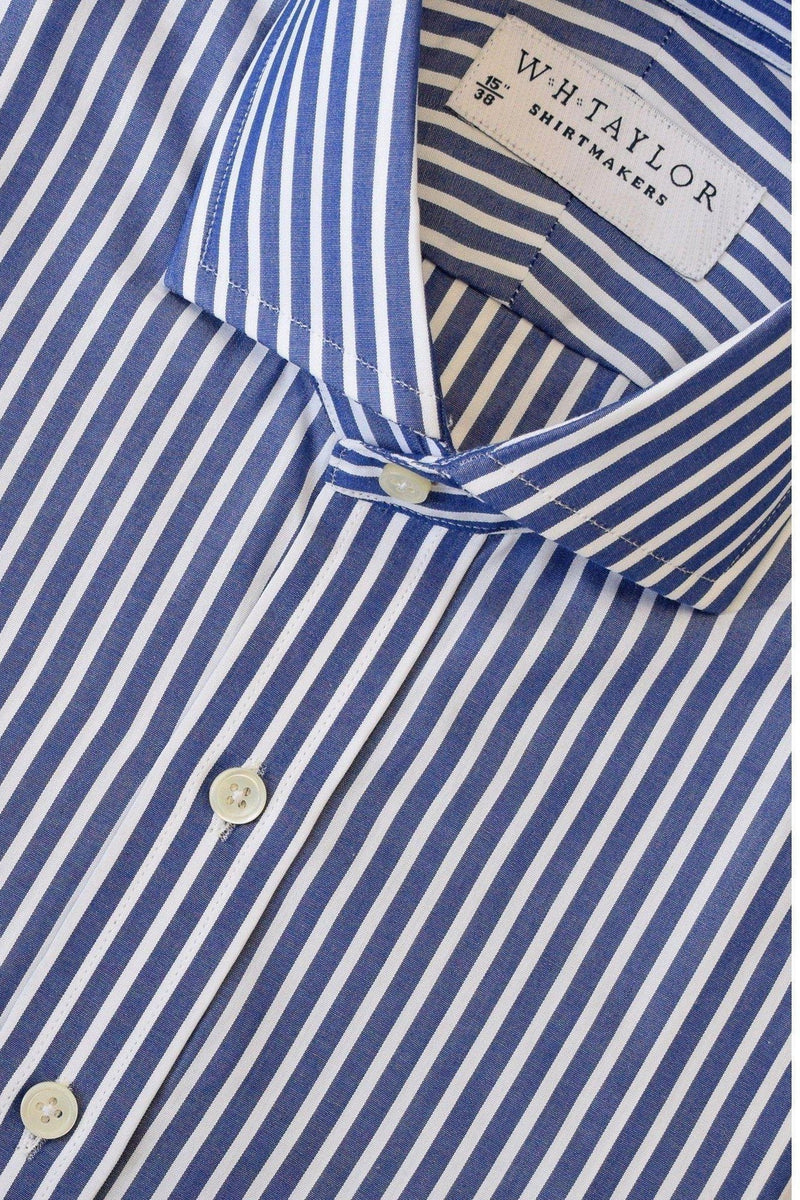 200's Ultimate Superfine Large Navy Stripe White Wide Pinstripe Poplin Bespoke Shirt-whtshirtmakers.com