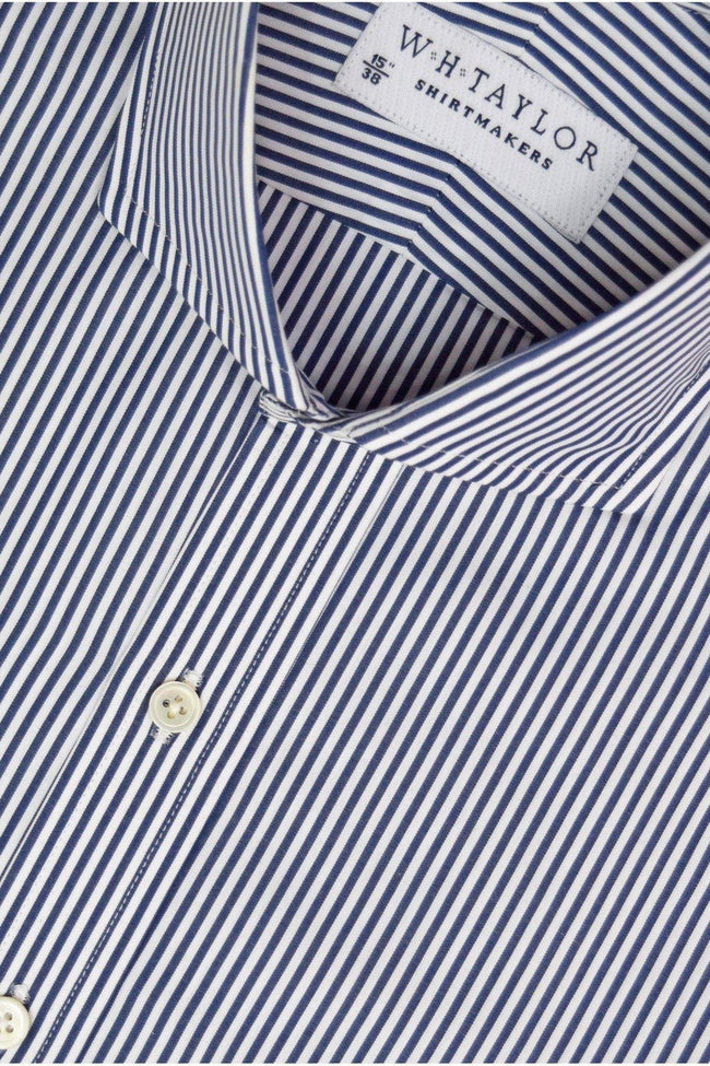 200's Ultimate Superfine Navy Bengal Striped Poplin Bespoke Shirt-whtshirtmakers.com