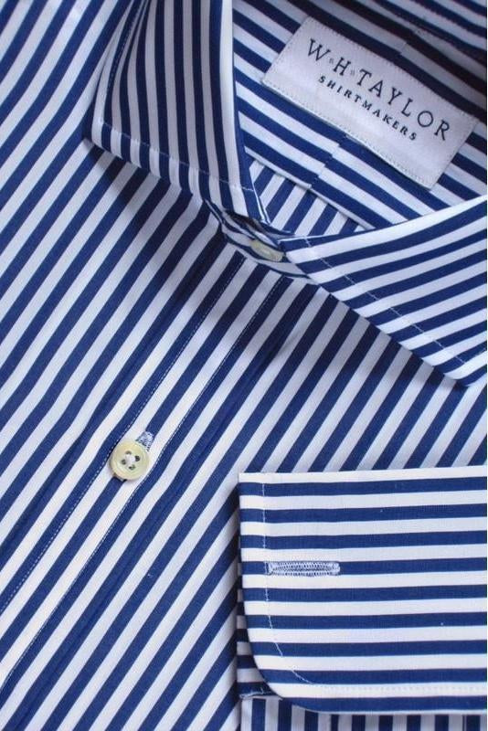 200's Ultimate Superfine Navy Butcher Stripe Poplin Bespoke Shirt-whtshirtmakers.com