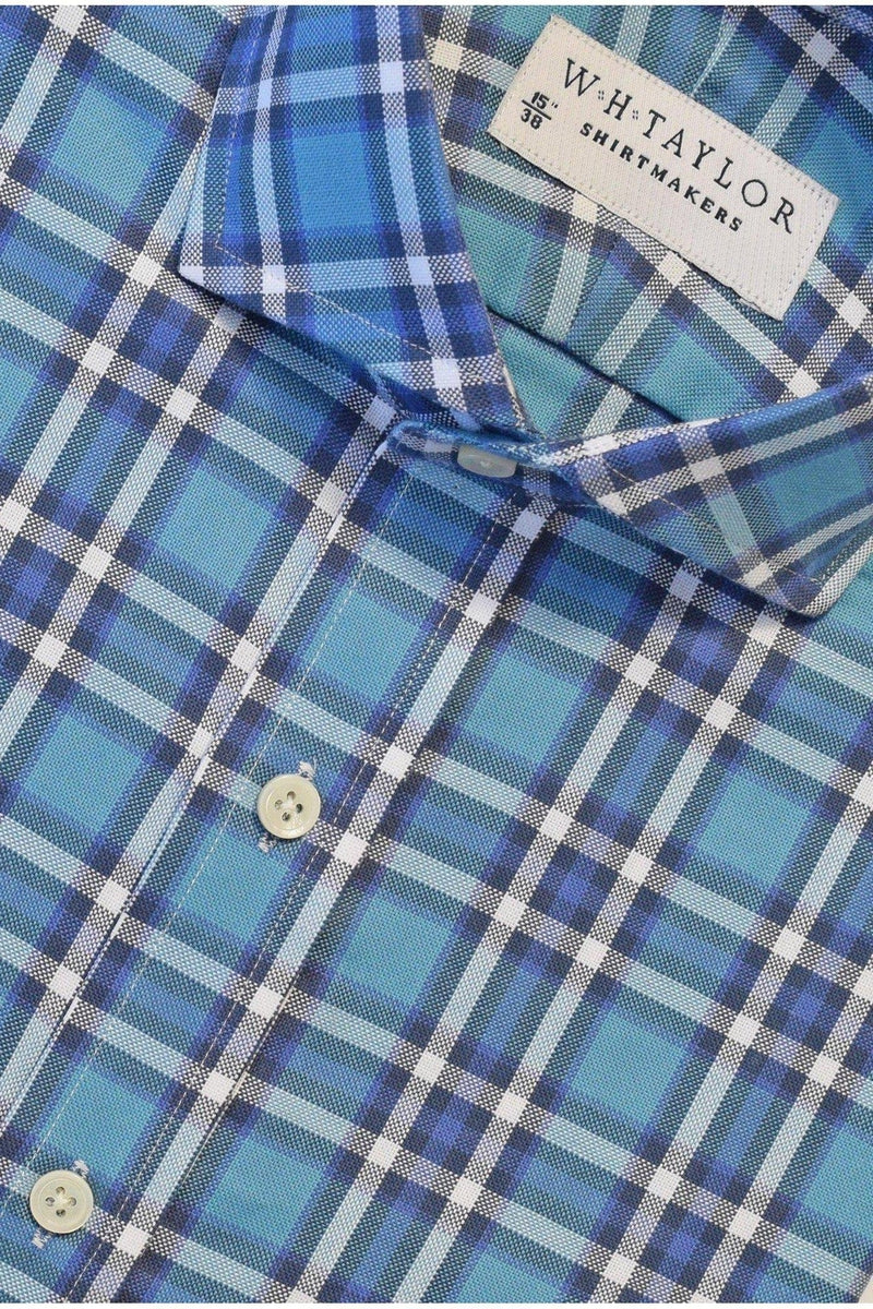 Aqua Plaid Twill Check Bespoke Shirt-whtshirtmakers.com