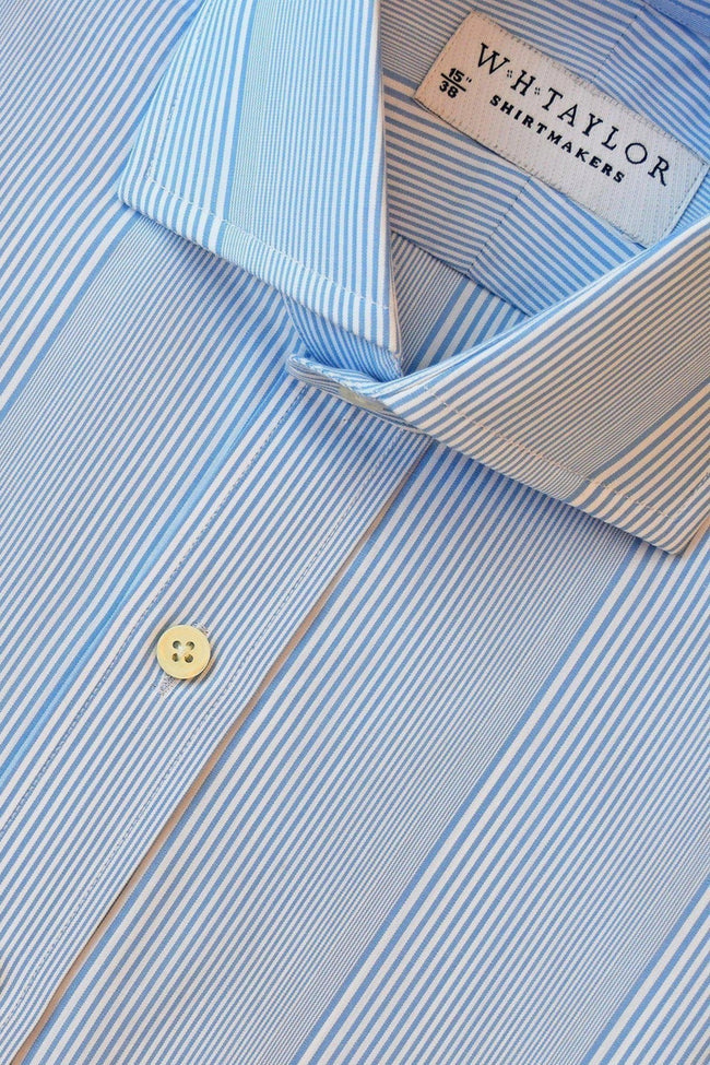 whtshirtmakers.com Bespoke Blue Bar code Stripe Poplin Shirt