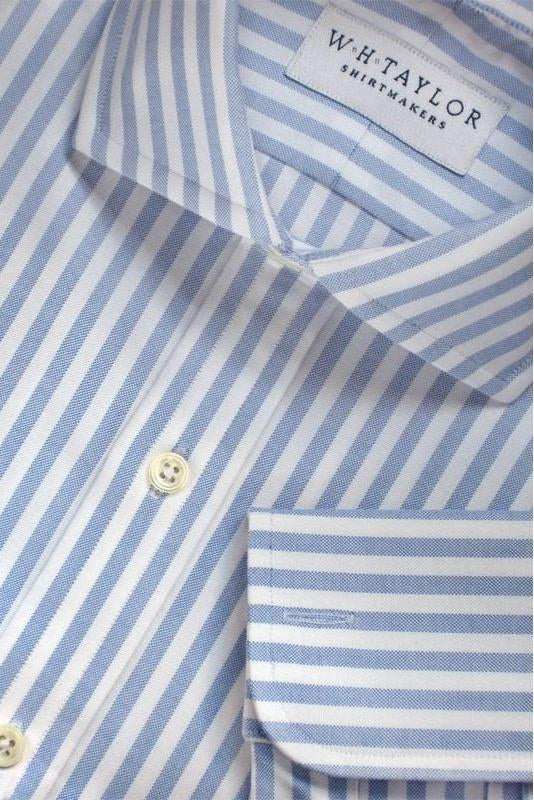 whtshirtmakers.com Bespoke Blue Butcher Oxford Stripe Shirt