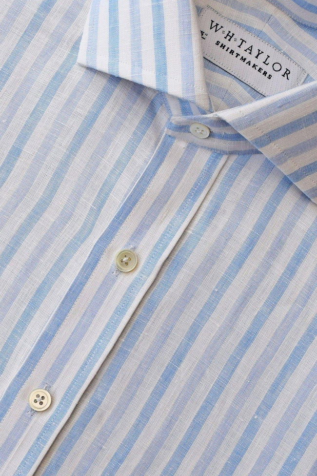 Blue Butcher Striped Linen Bespoke Shirt-whtshirtmakers.com