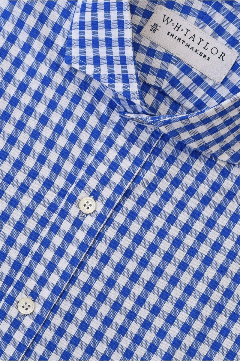 Blue Gingham Check Oxford Bespoke Shirt-whtshirtmakers.com