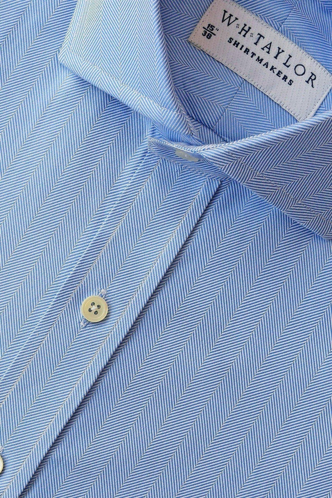 Blue Herringbone Stripe Bespoke Shirt-whtshirtmakers.com