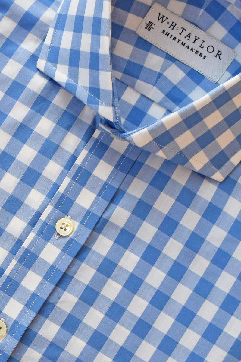 Blue Large Gingham Check Poplin Bespoke Shirt-whtshirtmakers.com