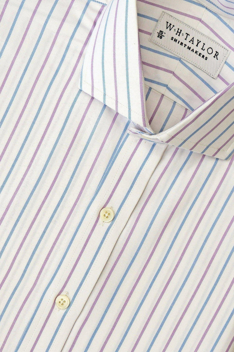 Blue Lilac Oxford Alternate Dress Stripe Bespoke Shirt-whtshirtmakers.com
