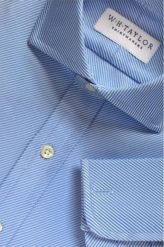 Blue Lined Twill Cotton Bespoke Shirt-whtshirtmakers.com