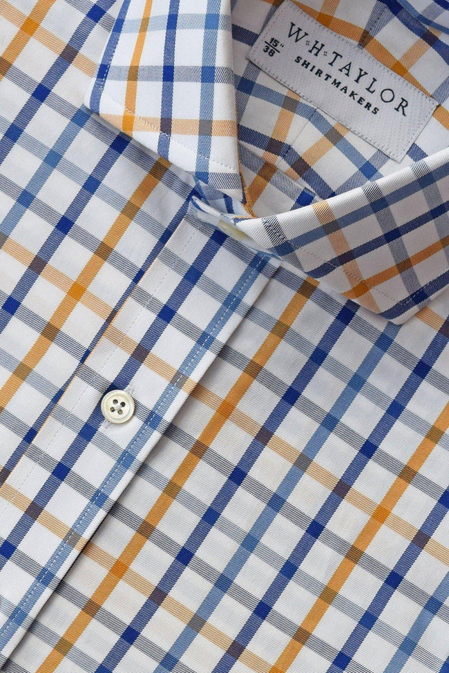 whtshirtmakers.com Bespoke Blue, Navy & Gold Twill Country Plaid Check Shirt